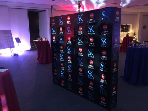 Branded step and repeat wall hire